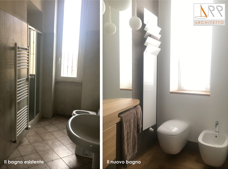 Da un solo bagno stretto e lungo ricavarne due u architetto